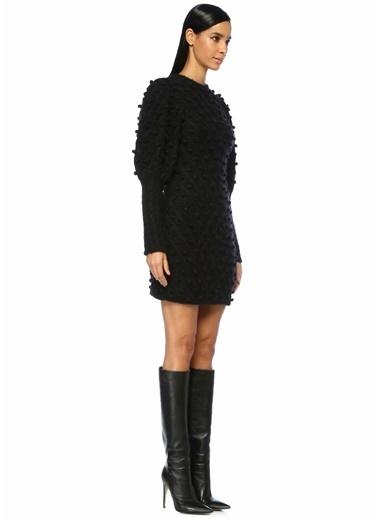 Zimmermann Balon Kol Mini Triko Elbise Siyah
